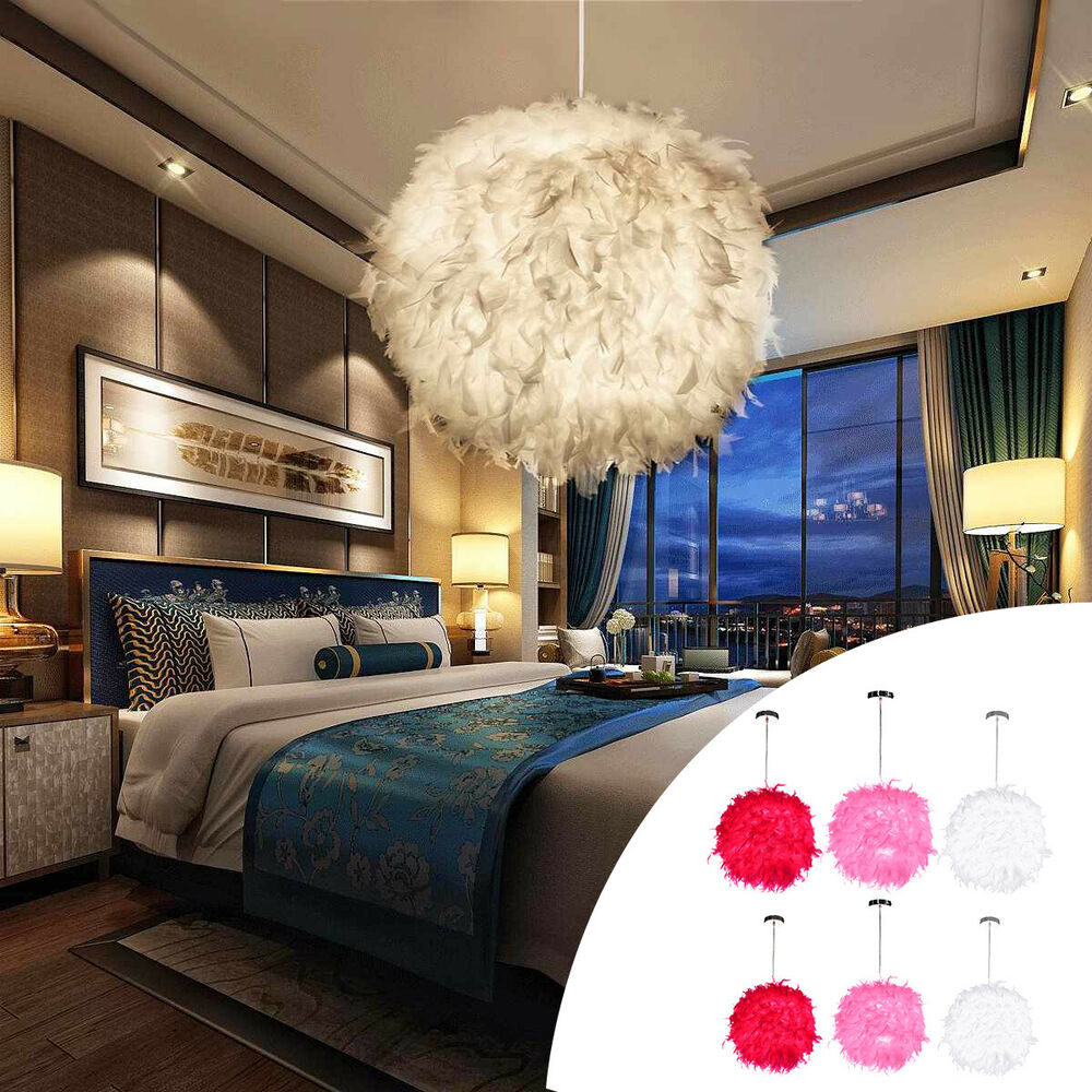 Living Room Lamp Shades: Modern Feather Ball Light Shade Ceiling Lighting Living