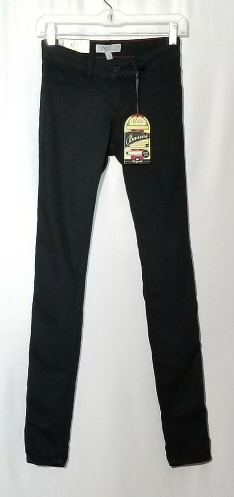 4233af6c80fad0 Details about Cello Basics Black Skinny Jeans Jeggings Pull On Flat Front Women  Juniors Size 1