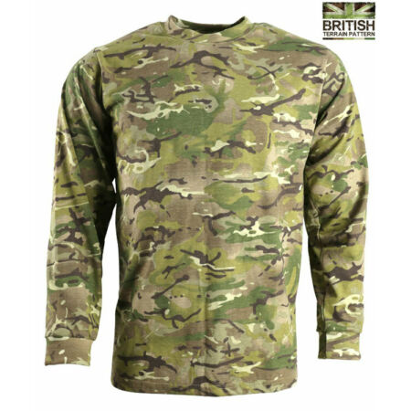 img-Mens Combat Army Long Sleeved T-shirt British Military BTP Camouflage Camo New
