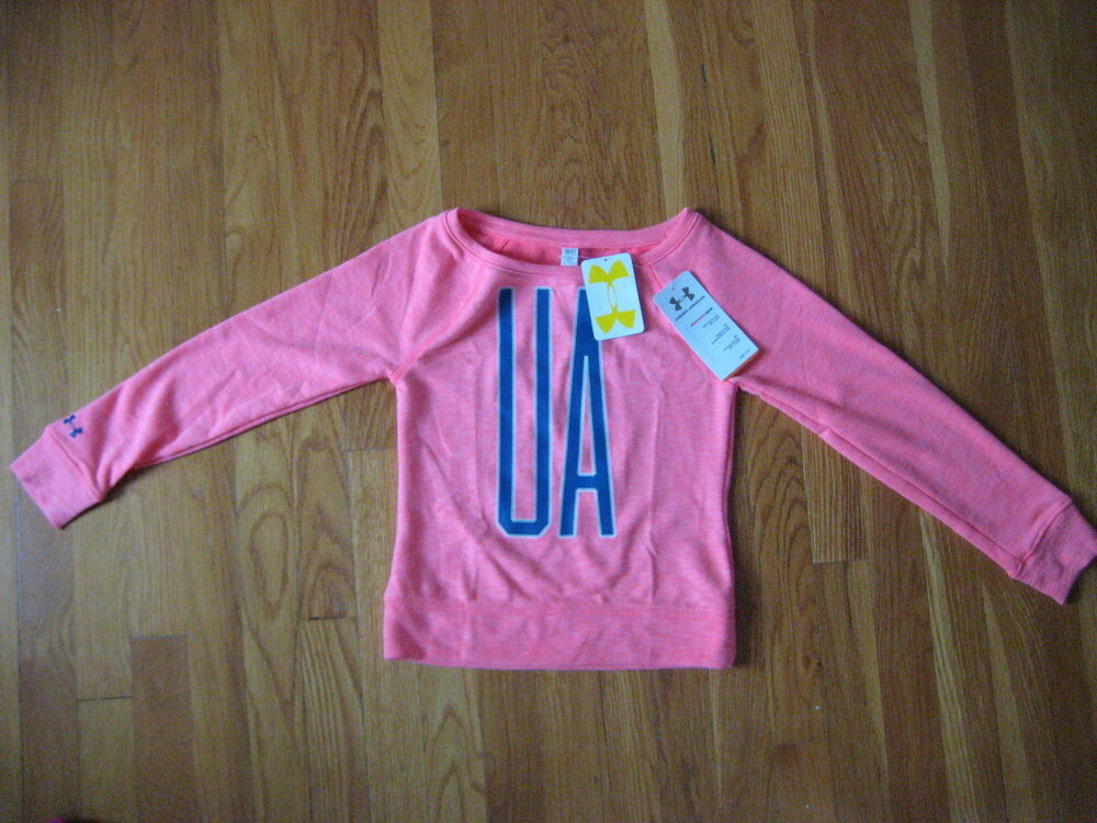 premium selection 17a4a 66f62 Details about NEW Under Armour girls UA Varsity Crew SWEATSHIRT shirt pink  blue YS S small t