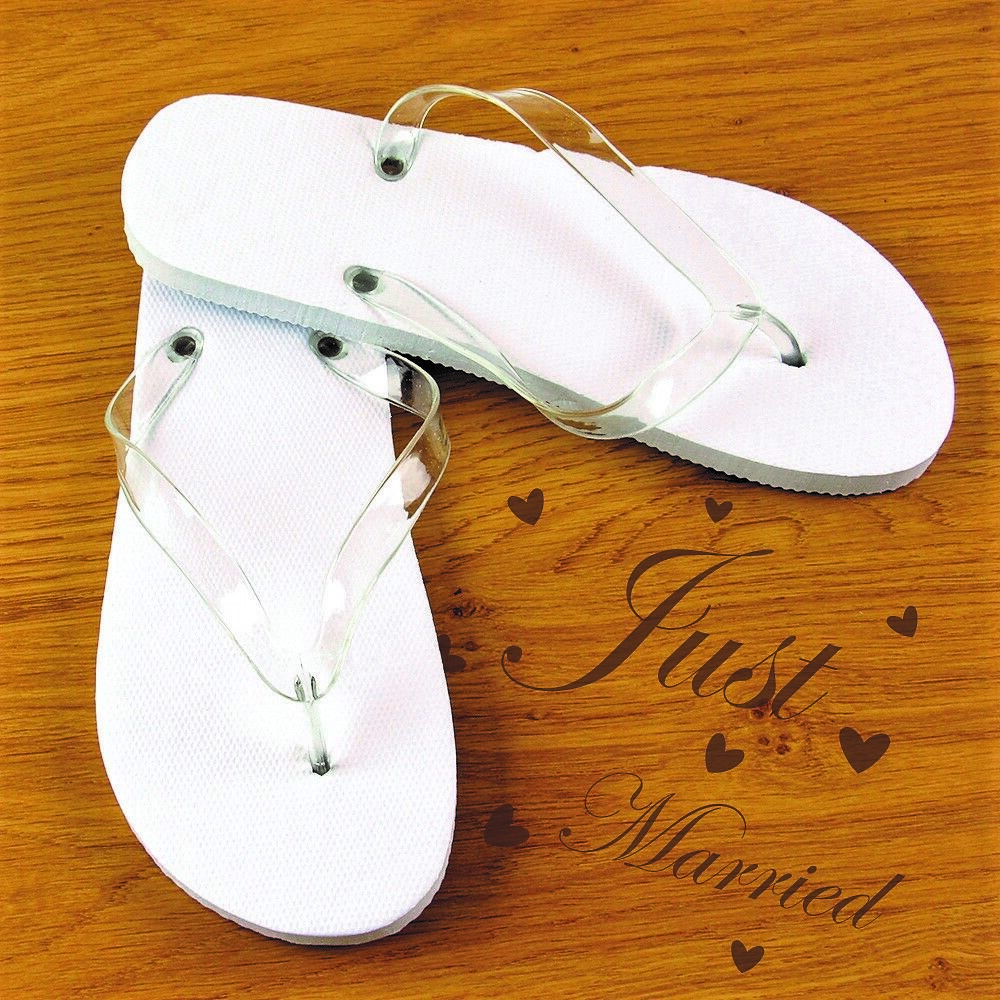 ca60689c9 White Spa   Hotel   Wedding Flip Flops - Medium or Large Party Footwear