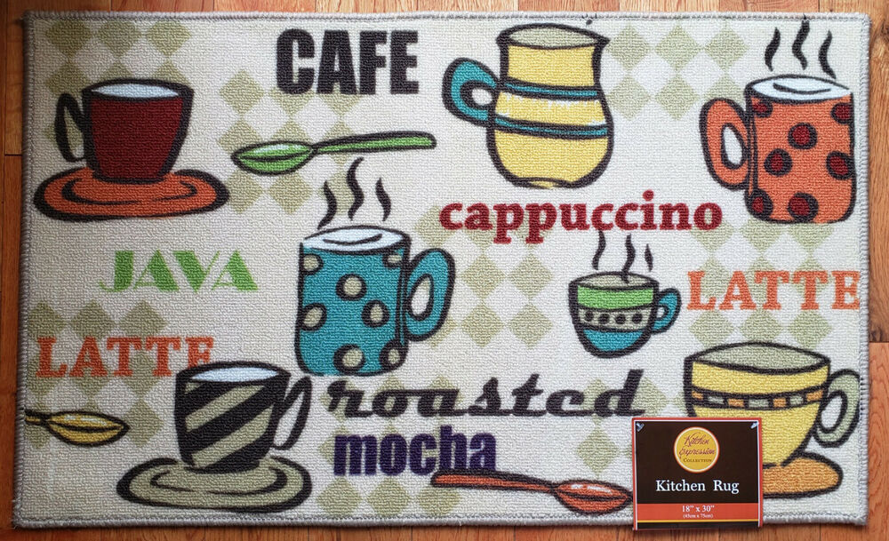 Nwt Coffee Cups Cafe Latte Java Kitchen Mat Striped Polka Dot Decor Rug 18x30 Ebay