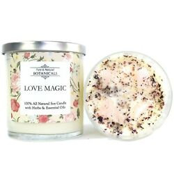 Love Magic Soy Candle Herbal 100% Natural Attraction Passion Wiccan Pagan Spell