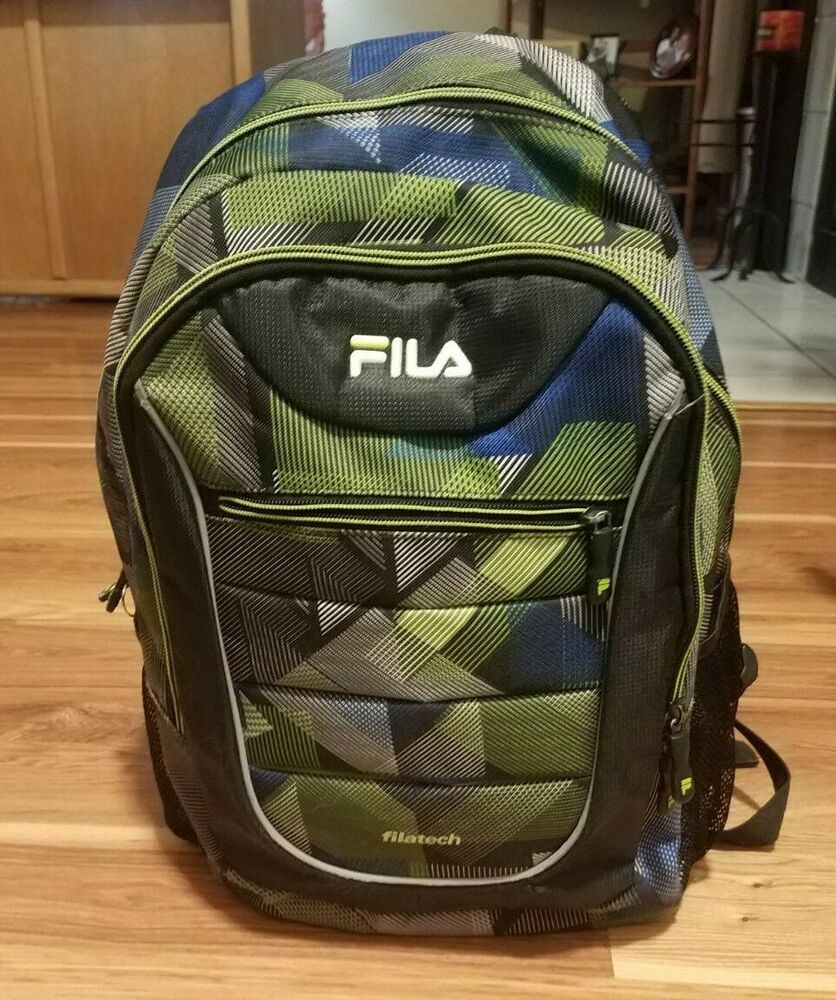 Details about Filatech Fila Backpack In Green and Blue