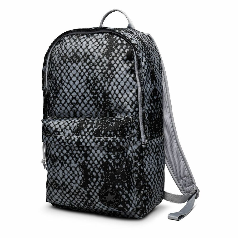 425324618fb40f Details about Black and Grey Converse All Star Backpack Rucksack School-bag
