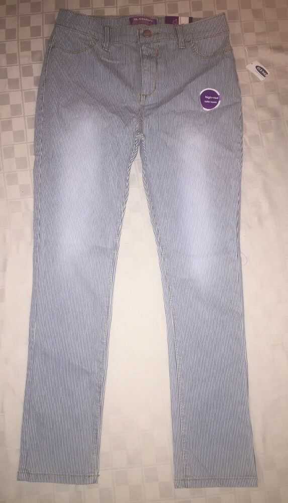cb63654e8364f0 Details about Old Navy Girls Skinny Jeans Size 16 Reg Rockstar Jeggings Crop  conductor stripes