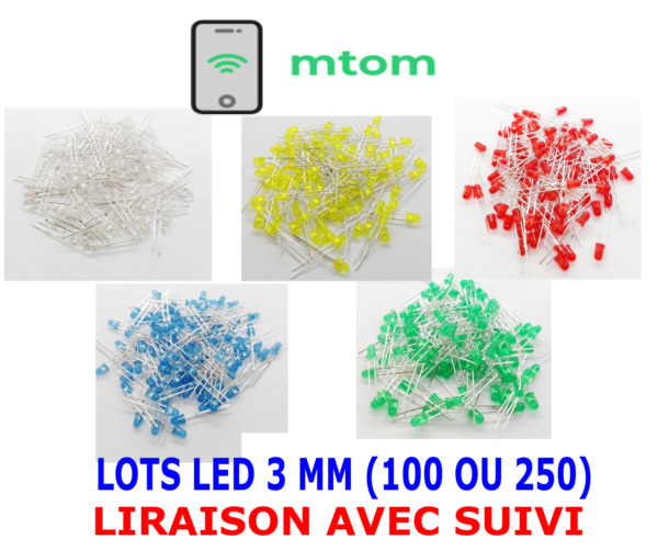 LED 3mm Assortiment rouge/verte/jaune/bleu/blanc Lots 100 ou 250 Arduino