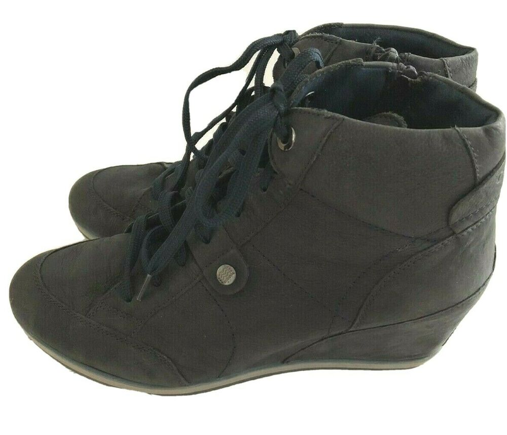 c954eb222e Details about Geox Leather Lace Up Wedge Dark Navy D4454A Eur 39 Sneaker  Ankle Illusion