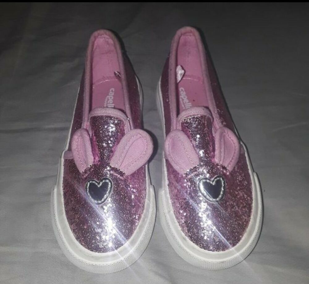 Pink Glitter Toddler Girl Flats Size 10c Bunny Shoes Slip