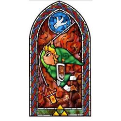 Legend of Zelda Decal Wind Waker 42'' Stained Glass Wall Decal, Link Swinging New