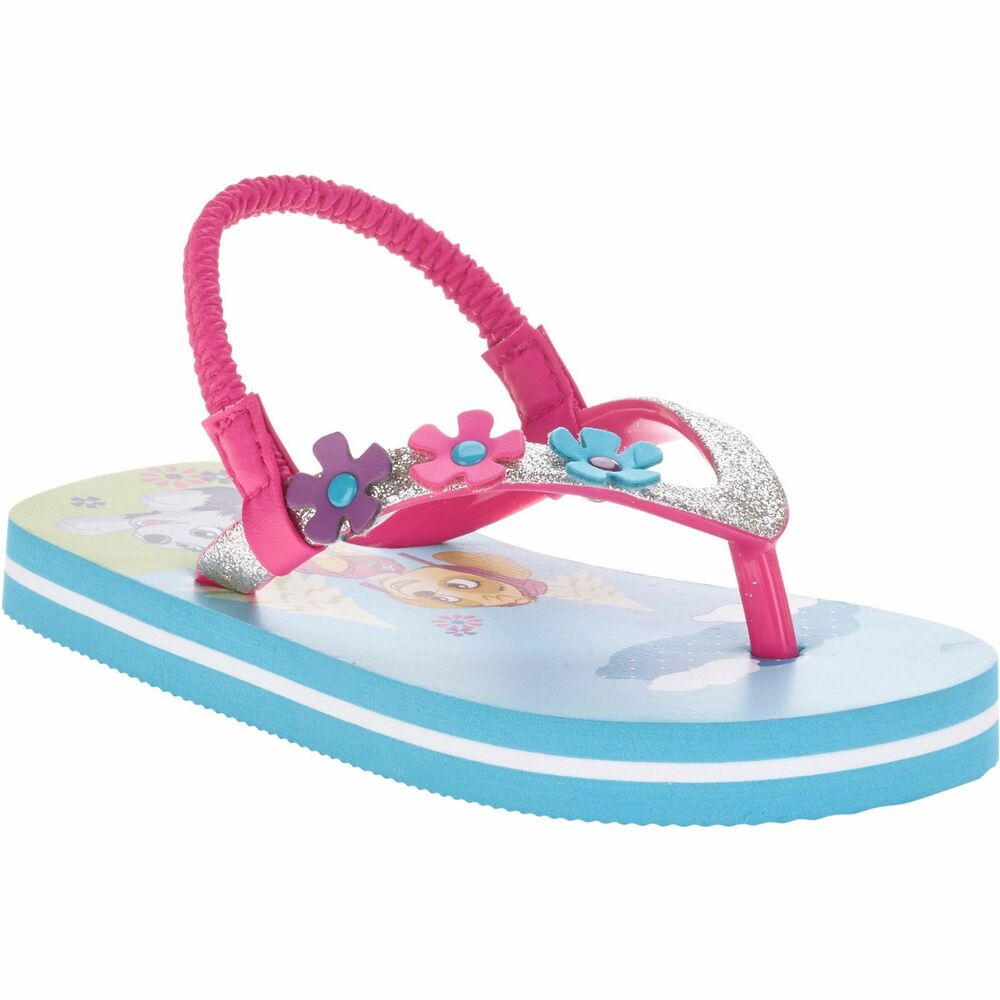 f69bf5611 Details about Paw Patrol Girls Toddler Beach Flip Flop W Ankle Strap Size  SMALL 5-6