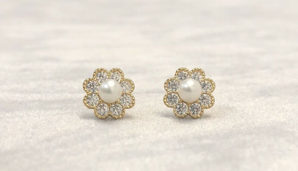 25c5c5ed5af4 Details about 14k Yellow Gold Pearl Flower Earrings