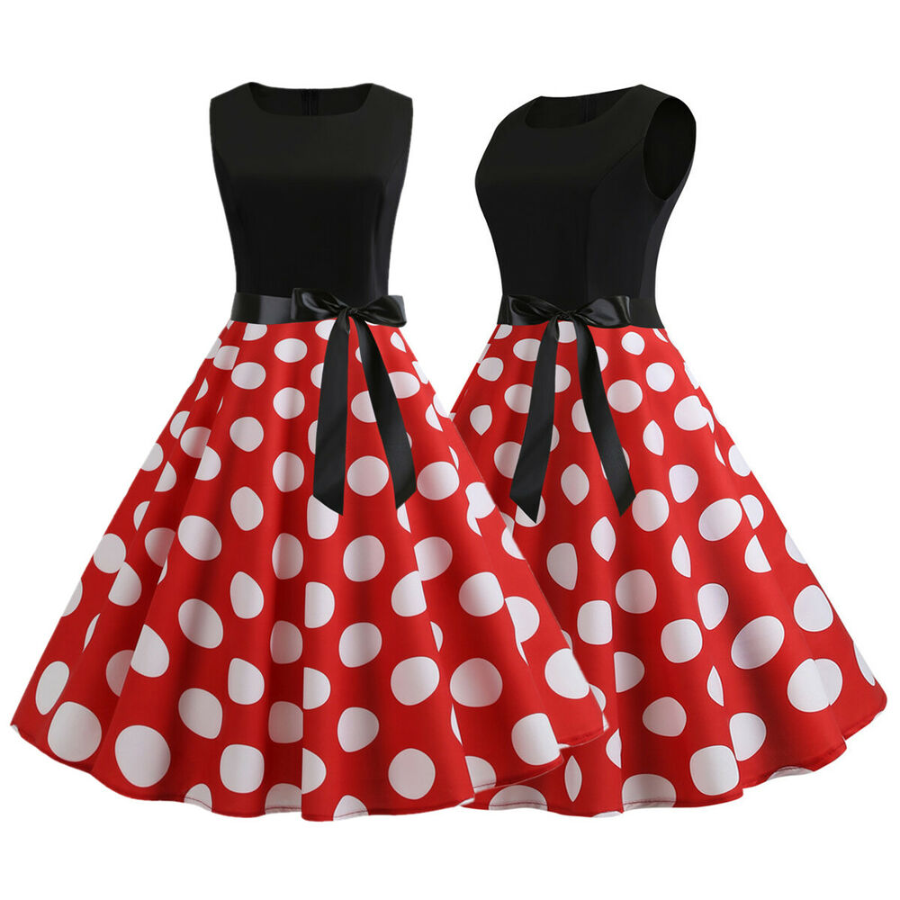 ba3102a3849 Details about Womens Vintage Polka Dot 50 s Rockabilly Swing Housewife Retro  Dressed Sundress
