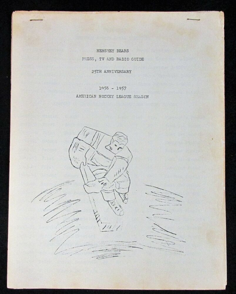 Hershey Bears 1956 1957 Press Tv Radio Guide American Hockey League