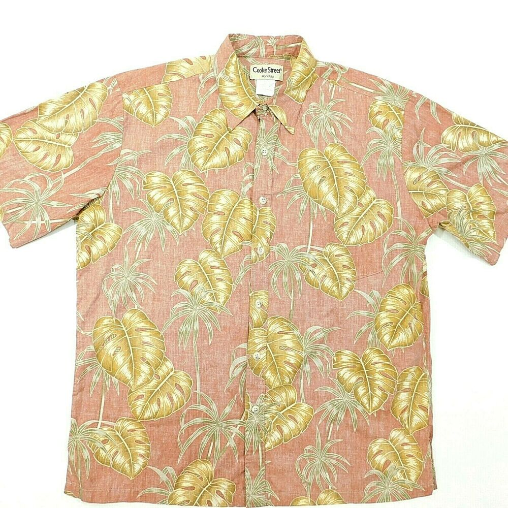 0ff3eeab Details about COOKE STREET Reverse Print Hawaiian Shirt Pink Beige Green  USA Cotton L Large