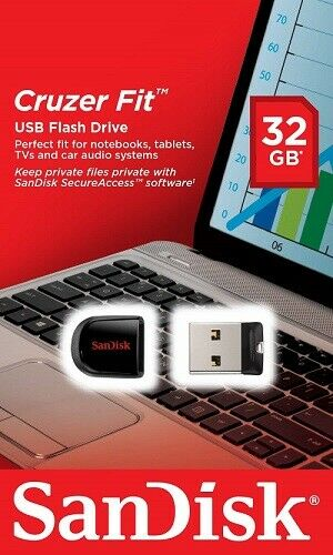 32GB Sandisk Cruzer Fit Mini USB 2.0 Penna chieavetta  Flash CZ33 Drive Stick