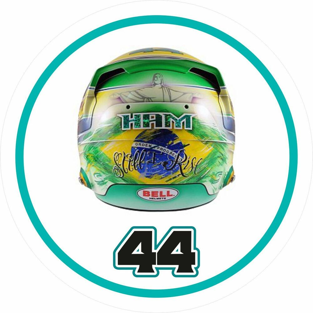 Details about lewis hamilton sticker ayrton senna tribute helmet design with no 44 f1 sticker