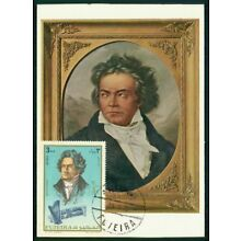 Fujeira Mk 1972 Musik Beethoven Composer Music Maximumkarte Maxi Card Mc Cm Ar88 Stamps Topical Stamps