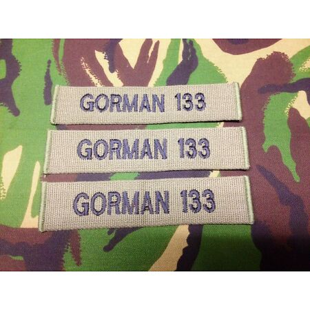 img-OFFICIAL MILITARY WEBBING NAME TAPES OR ZAP BADGE DETAILS ( X 3 sew on )B/A R/N