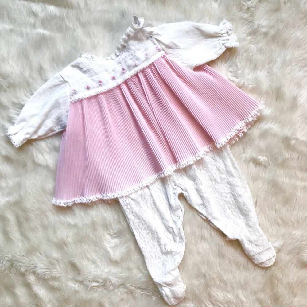 61ee09c258451 Details about Vintage Pink and White lace baby girls romper onese dress bow