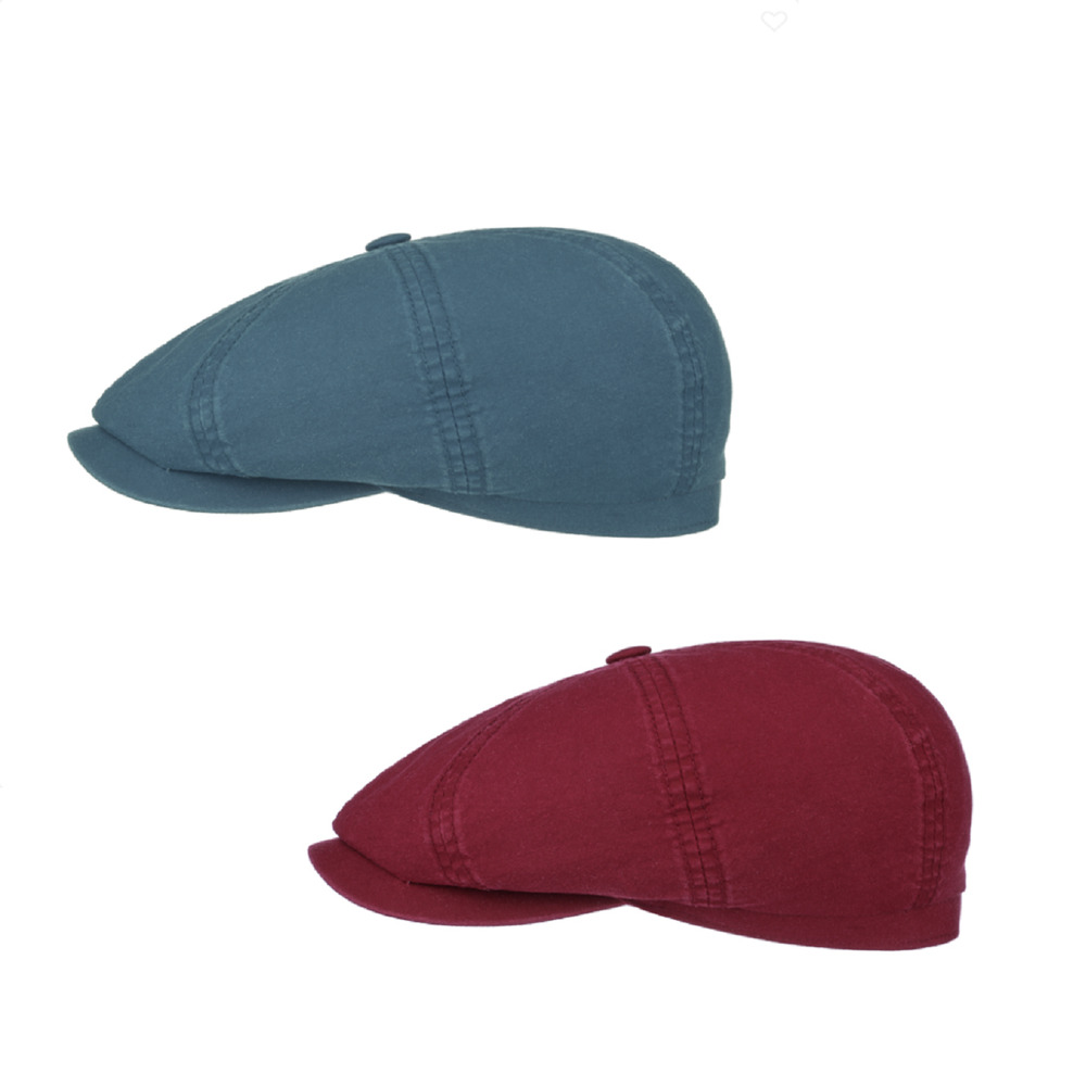 d18b3e827785b8 Details about Stetson Organic Cotton Hatteras Bakerboy Cap In Burgundy or  Blue 6841106
