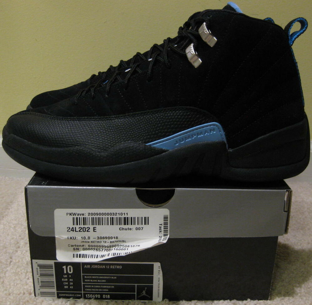 huge discount fa5ea ddd92 Nike Air Jordan XII 12 Retro 2009 Black Nubuck Carolina Light Blue NEW Men  10 44   eBay