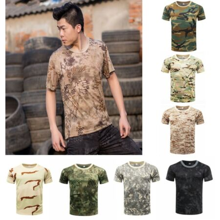 img-Men's tactical T-shirt camouflage combat T-shirt hunting fishing short sleeve