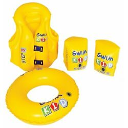 Kids Stuff Swim Kid Learning Set Inflatable Vest  Ring  Arm Bands For 3+ Years