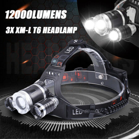 img-12000LM LED Headlamp 18650 Battery Rechargeable Camping Hiking Head Touch Light