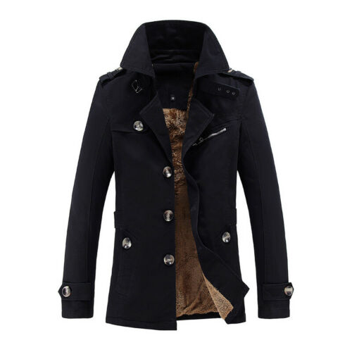 New Mens Winter Warm Fleece Lined Thick Trench Jackets Coats