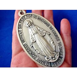 Large VIRGIN MARY MIRACULOUS Devotion Medal 3-1/2'' Saint Medal Italy Twin Hearts