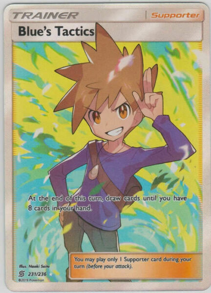 Blue's Tactics 231/236 Full Art Supporter Card (Pokemon SM Unified Minds)