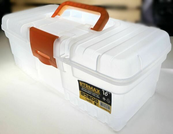 16'' Plastic Tool Storage Case Toolbox with Handle Transparent Layers Clip DIY