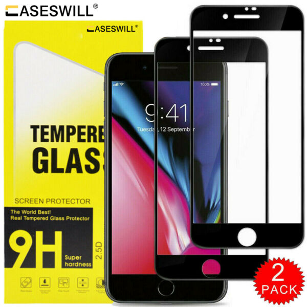 For iPhone 8 7 6S 6 Plus Caseswill FULL COVER Tempered Glass Screen Protector