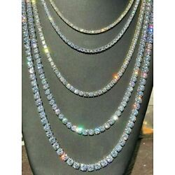 Kyпить Tennis Chain Real SOLID 925 Sterling Silver Single Row ICED Diamond Necklace на еВаy.соm
