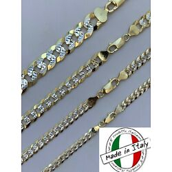 Kyпить Cuban Link Chain 14k Gold & Solid 925 Silver Two Tone Diamond Cut ITALY 5-11mm на еВаy.соm