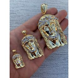 Kyпить Solid 925 Silver 14k Gold Finish Jesus Piece ITALY Necklace HIP HOP Real Iced на еВаy.соm