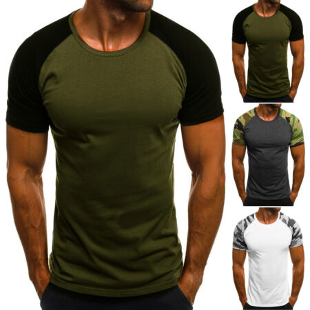img-Slim Fit T-shirt Tee Tops Men's Round Neck Sport Camouflage Summer 2019