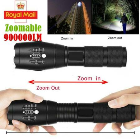 img-Tactical Light Outdoor 900000LM 5Mode LED T6 Lamp Zoom Flashlight Camping Torch