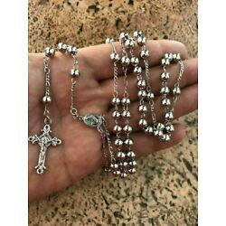 "Kyпить Rosary Beads Necklace 24"" Solid 925 Sterling Silver Italy Men's Women's Rosario на еВаy.соm"