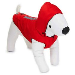 NEW AKC Red Reflective Hooded Puffed Dog Coat Jacket Clothing (Choose S M L)