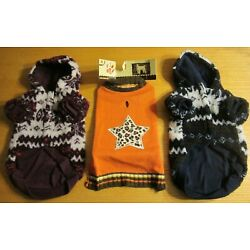 Lot of 3 Dog Sweaters Brand New with Tags Blue, Purple, Orange Medium/Small
