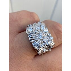 Kyпить Mens REAL Solid 925 Sterling Silver Diamond Nugget Ring Sz 7-13 Hip Hop Ring ICY на еВаy.соm