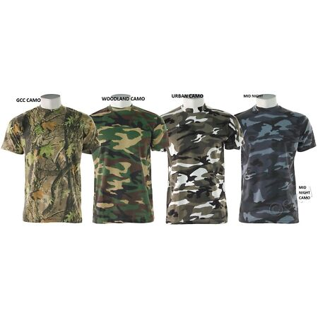 img-CAMOUFLAGE T-SHIRT T SHIRT WOODLAND MIDNIGHT URBAN 8 COLOUR ARMY MILATERY COMBAT