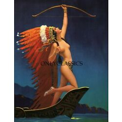 Kyпить 1936 Rare Vintage Art Deco Indian Maiden Flaming Arrow Print Eggleston Pinup на еВаy.соm