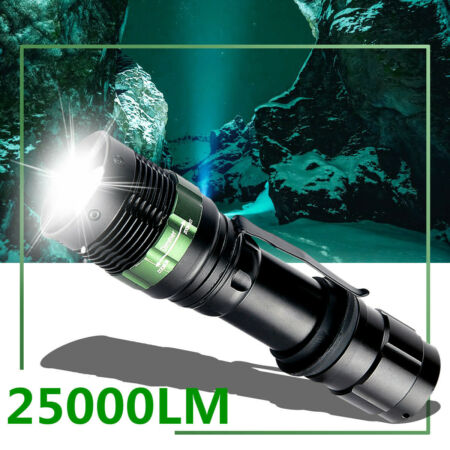 img-25000LM T6 Lamp LED Flashlight Zoom Torch 3 Modes Light Waterproof Outdoor UK
