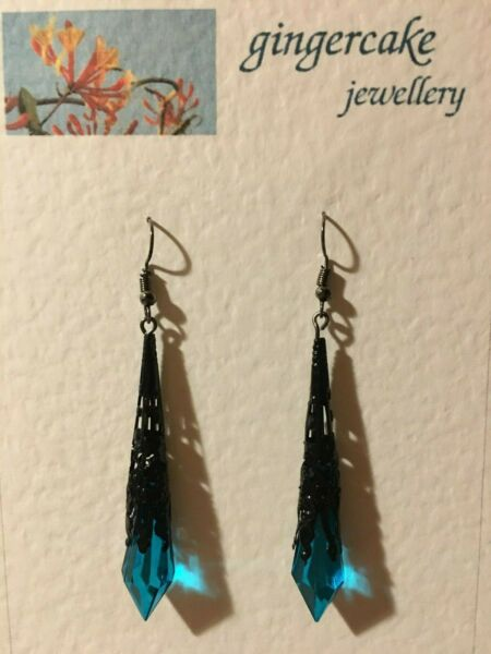 PEACOCK BLUE FACETED VICTORIAN STYLE EARRINGS VERY BLACK PLATE FILIGREE 7CM hook