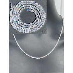Kyпить 2mm SOLID 925 Sterling Silver Micro Tennis Chain Real Iced Diamond Necklace Gold на еВаy.соm