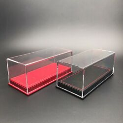 Acrylic Display case show case Red OR Black PU leather base for 1/43 Car model