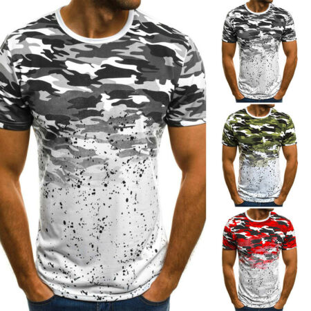 img-Men Summer Short Sleeve Camouflage Gradient Printed T-Shirt Slim Fit Shirts Tops